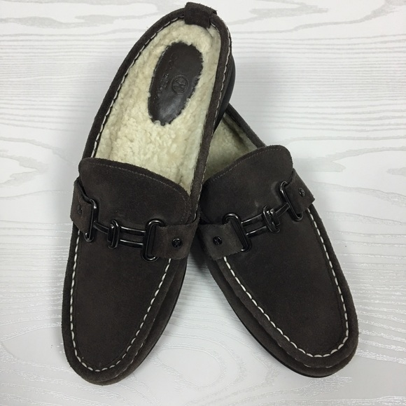 cd182736e8a Cole Haan Shoes - Cole Haan Brown Suede Loafers Sherpa Lining